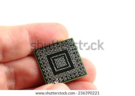 microchip in my hand  - stock photo