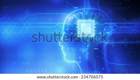 Microchip in the Head - stock photo