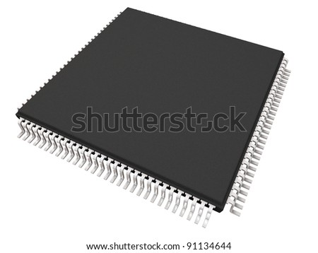 Microchip  isolated on white - stock photo
