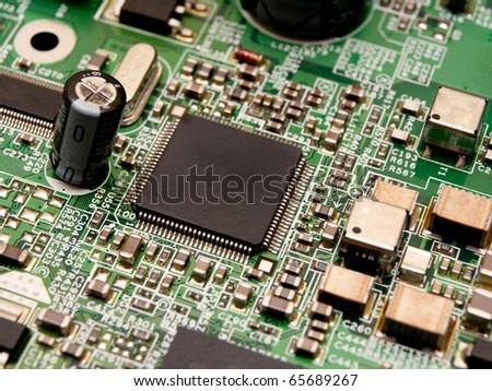 Microchip on a circuit board - stock photo