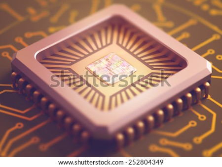 Microchip on board. Depth of field in the core. - stock photo