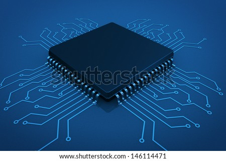 Microchip on circuit board in blue key - stock photo