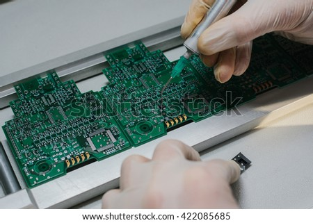 microchip production factory. technological process. - stock photo