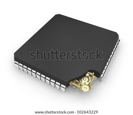 Microchip with mechanical gears inside - stock photo