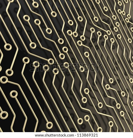 Microcircuit chip dimensional scheme over black surface as technology and science abstract background - stock photo