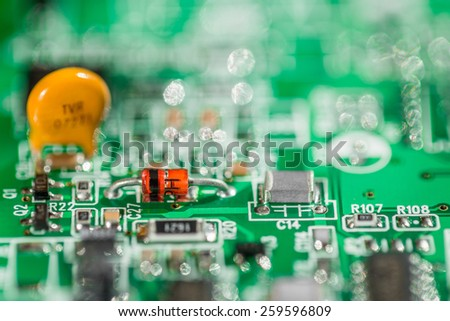Microcircuit from a modem to connect to the Internet. Background. - stock photo