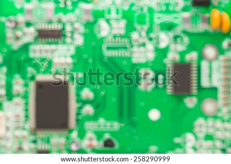 Microcircuit out of focus. Background. - stock photo