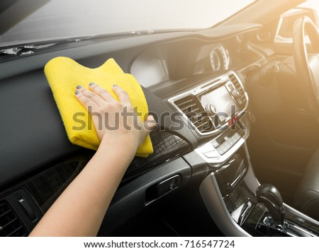 Microfiber And Console Car, Hand Cleaning Interior Modern Car, Microfiber  And Cleaning Solution To