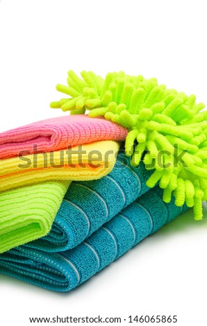 microfiber and towels isolated on a white background