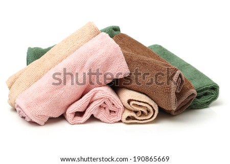 microfiber cleaning cloth on white background - stock photo