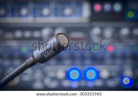 microphone and audio console  - stock photo