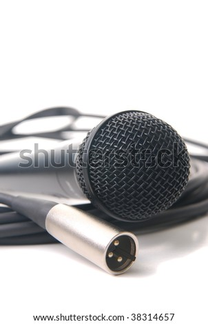 microphone and cable isolated on a white background. - stock photo