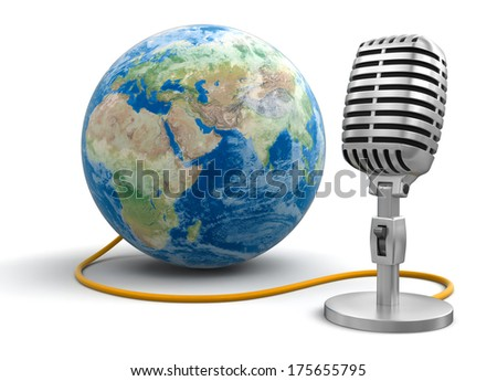 Microphone and Globe (clipping path included) Elements of this image furnished by NASA - stock photo