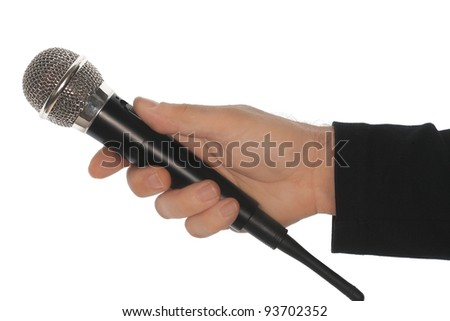 Microphone and hand - stock photo