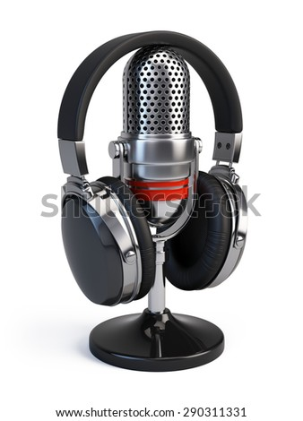 Microphone and headphones isolated on white - stock photo