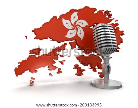 Microphone and Hong Kong (clipping path included) Elements of this image furnished by NASA - stock photo