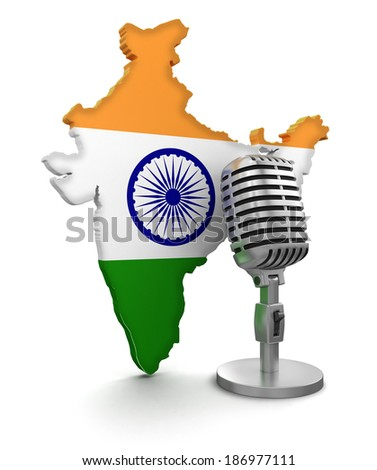 Microphone and India (clipping path included) - stock photo
