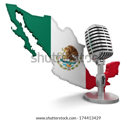 Microphone and Mexico (clipping path included) - stock photo