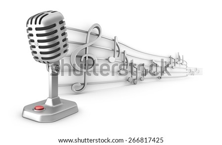 Microphone and musical notes staff set - stock photo