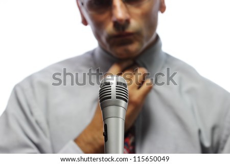 microphone  and out of focus Public speaker - stock photo