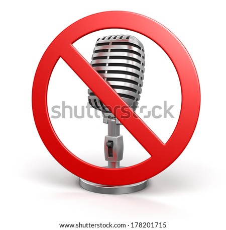 Microphone and prohibition sign (clipping path included) - stock photo