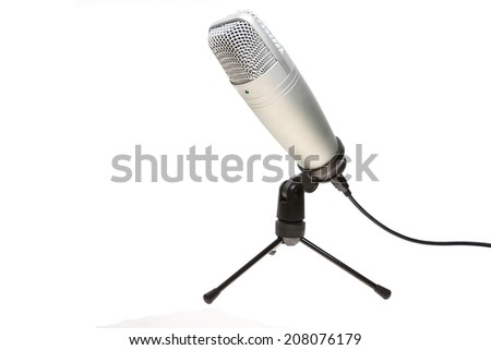 microphone and stand isolated on white background from obllique view - stock photo