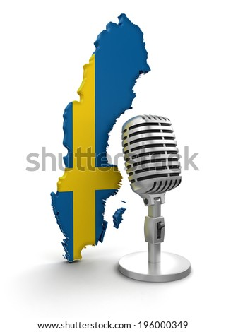 Microphone and Sweden (clipping path included) - stock photo