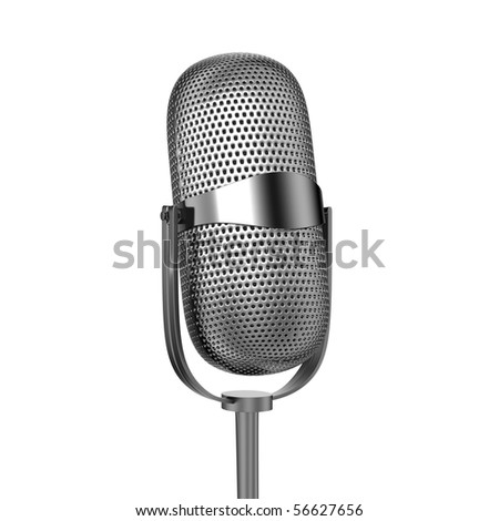 Microphone angled isolated on white - stock photo