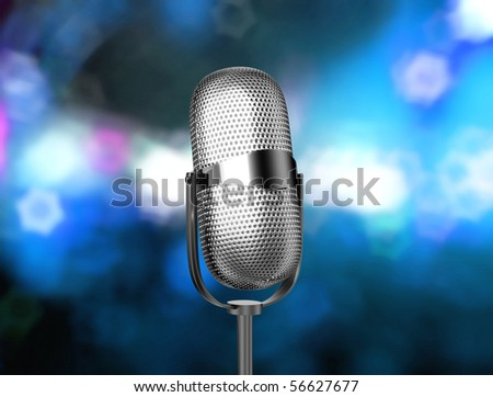 Microphone angled on stage - stock photo