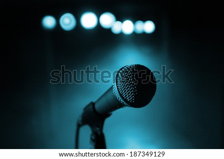 Microphone at concert - stock photo