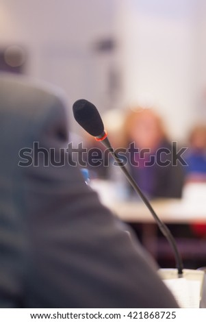 microphone at the conference  - stock photo