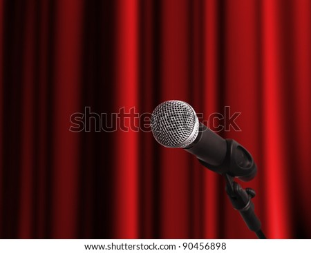 Microphone at the stage with copy space - stock photo