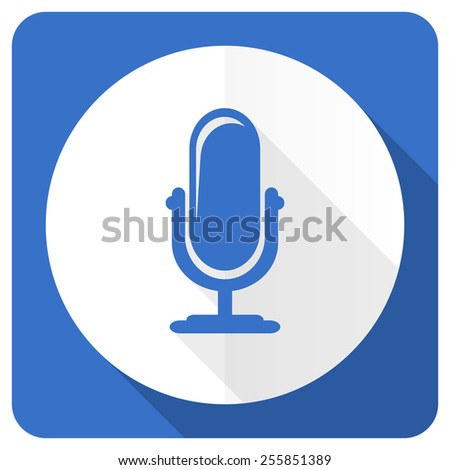 microphone blue flat icon podcast sign  - stock photo