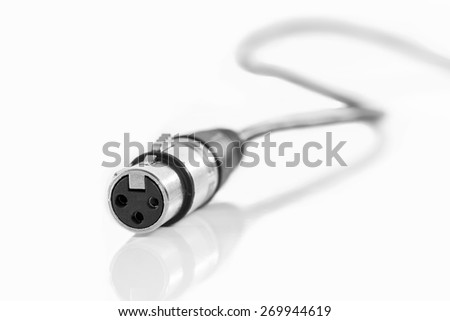 Microphone Cable On White Background - stock photo