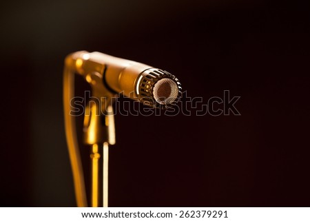 Microphone close up in dark colors  - stock photo