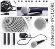 Microphone collage. Closedup microphone  parts - stock photo