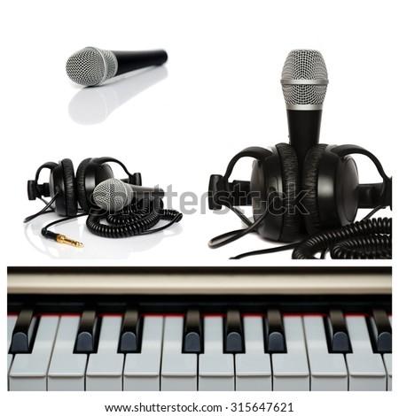 Microphone collage. Closedup microphone parts - stock photo