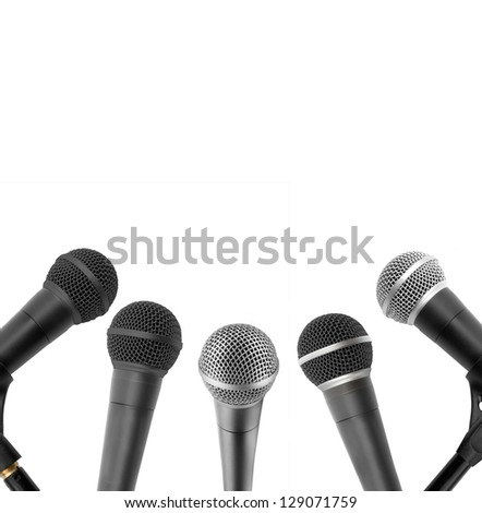 microphone collection on a white background