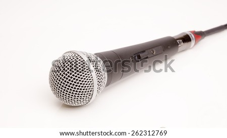 Microphone connected cable isolated on white background