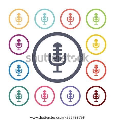 microphone flat icons set. Open colorful buttons  - stock photo