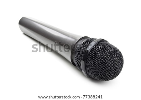 microphone for karaoke isolated on a white background - stock photo