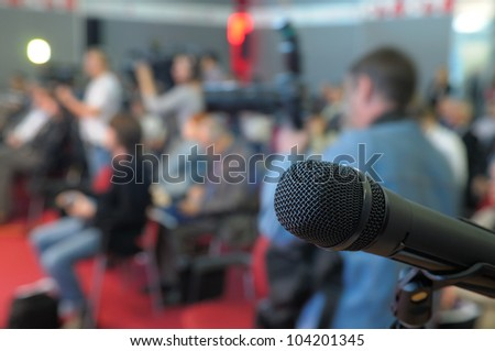 Microphone for questions at conference. - stock photo
