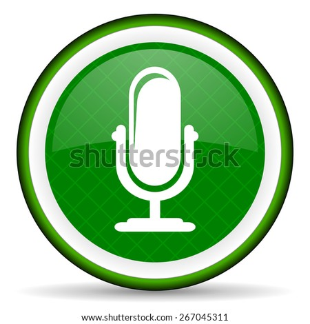 microphone green icon podcast sign  - stock photo