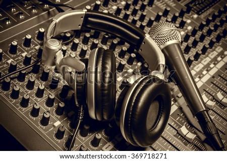 microphone,headphone,sound mixer background. - stock photo