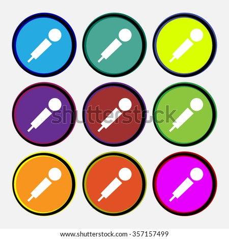 microphone icon sign. Nine multi colored round buttons. illustration - stock photo