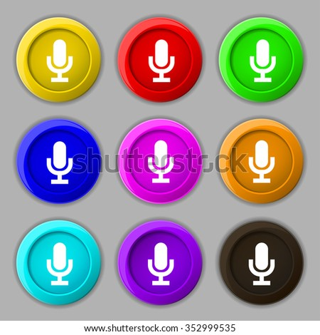 microphone icon sign. symbol on nine round colourful buttons. illustration - stock photo