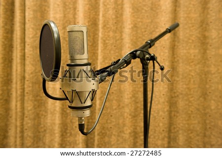microphone in a sound recording studio - stock photo