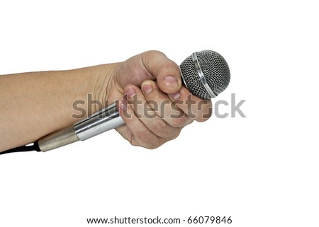 Microphone in hand isolated on white - stock photo