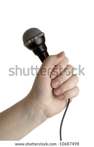 microphone in hand. isolated on white background - stock photo