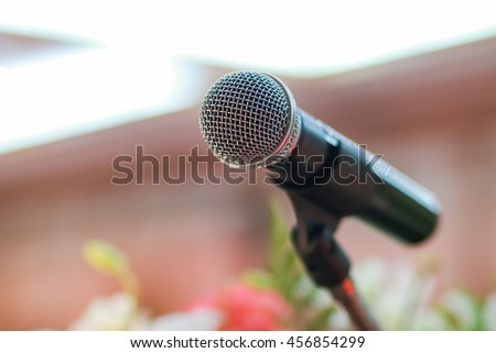 microphone in meeting classroom or conference room - stock photo